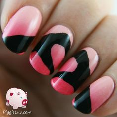 For todays nail art, I drew two hands making a heart!  I made a gradient using Essie Cute As A Button and Inglot 718 and I painted the hands with black acrylic paint. I think its very romantic!