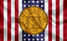 Download wallpapers Georgia, USA, 4k, American state, Seal of Georgia, silk texture, US states, emblem, states seal, American flag