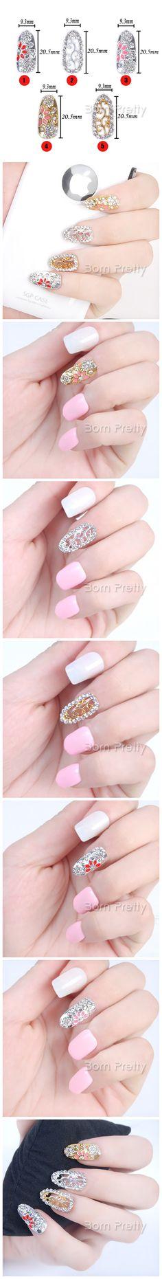 $2.92 3Pcs Shiny Retro-style Hollowed-out Rhinestoned Design Full Nail Stud 3D Nail Art Jewelry Decoration - BornPrettyStore.com