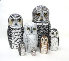 Nesting Doll Owls - Set of 7 - Phantoms in the Dusk