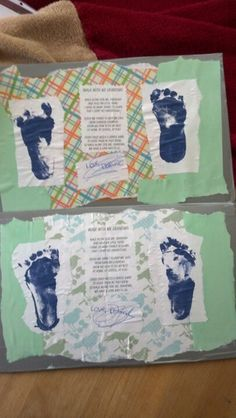 """I just made these today with my little toddler...I did most of the work lol ;) they are mother's day gifts to his grandma's. I just took cardboard and edged it with duct tape, tore up scrapbook paper and used mod podge to glue it down. I printed a poem, had my toddler """"sign"""" a piece of paper, and dipped his feet in acrylic paint and made foot prints. Put it all together and sealed it with mod podge. I love them!!!"""