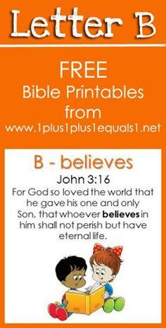 Free Bible Verse Printables ~ Letter B {Raising Lil Rock Stars} www.1plus1plus1equals1.net
