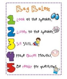carpet rules...might need to find a way to recreate this for my classroom...circle time has been difficult this week!