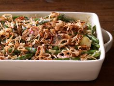 Tyler Florence' Green Bean and Pearl Onion Casserole from FoodNetwork.com It's the good ol' Green Bean Casserole using fresh stuff!  Ha!  Delish...