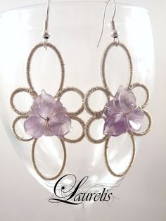 Amethyst fantasy earrings  silver plated wire by Laurelisbijoux, $14.90
