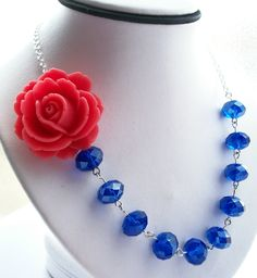 Coral Flower Necklace Cobalt Blue Necklace by PrettyNecklaces, $29.00