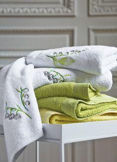 MATHILDE M broderie gris Guest Lavage Serviette de bain brodé Français Pays