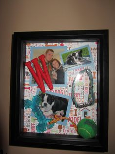 Winstins puppy shadow box   (first picture with him, collar, bone, ball, and puppy teeth)