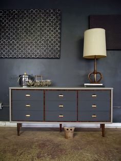 Vintage Ground: Mid Century Two Tone Dresser / Buffet / Credenza / Changing Table