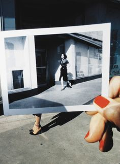 #GuyBourdin photograph within a photograph for Charles Jourdan.