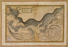 The tradition of drawings of dragons derived from Chinese art took a root in Iran under Timurid and Turkman rule during the fifteenth century. Dragons were a popular subject for drawings in Ottoman Empire executed in the so-called saz style, named for the saz qalami, or reed pen. Drawing attributed to Shah Quli, a Persian who became a leading painter at the court of the Ottoman sultan Süleyman the Magnificent (r. 1520–66).