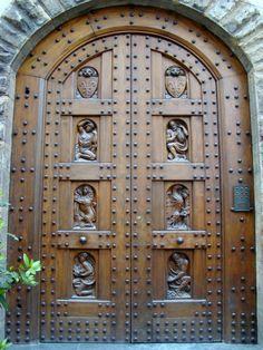 Italian Door Carved Wood Riveted Door Arched Door