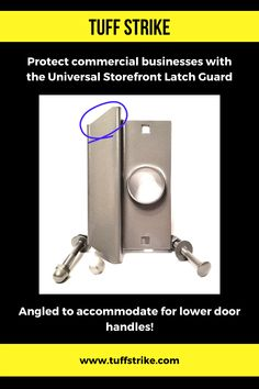 Upgrade commercial security with the Universal Storefront Latch Guard by TUFF STRIKE. Angled to accommodate door handles. Security Service, Security Door, Storefront Doors, Door Reinforcement, Intruder Alarm, Shtf, Natural Disasters, Store Fronts