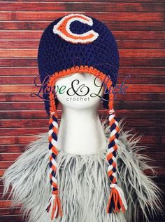 Chicago Bears Inspired Crochet Hat with Ear Flaps Navy and Orange #Glimpse_by_TheFind
