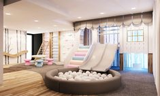 Playhouse with double slide, ball pool and climbing gym modern nursery/kids room by tigerplay at home modern Playroom Design, Kids Room Design, Kids Bedroom Designs, Indoor Playroom, Playroom Slide, Kids Indoor Play Area, Ikea Kids Playroom, Garage Playroom, Kids Indoor Playground