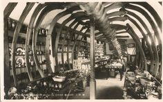 Shopping in the belly of a whale at the Blackgang Chine Amusement Park's Bazaar, Isle of Wight, featuring the bleached bones of a huge fin whale that had been stranded Asian History, Natural History, British History, Old Photos, Vintage Photos, Victorian Photos, Old School Film, High School, Fin Whale