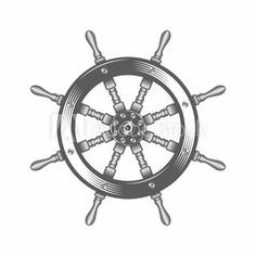 Steering wheel ship vector illustration / Vector illustration, Steering wheel, Silhouette, Tattoo, Vintage, Sailing, Ship, Helm, Summer
