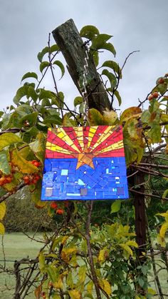 "Arizona state flag 6"" x 6"" mirror mosaic sun catcher on steel. Contact hungry3@hotmail.com for information."