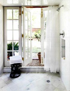 French doors open to walk in shower Wood Front Doors, Solid Doors, Barn Doors, Double Doors, French Door Decor, French Doors, Entry Door With Sidelights, Entry Doors, Antique Brass Door Handles