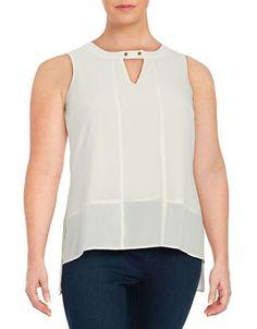Modamix Plus Keyhole Blouse Women's White 14