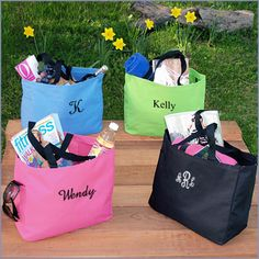 Monogrammed Tote Bags | love these for bridesmaid gifts.