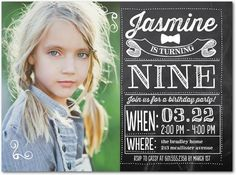 Chalked Fun: Girl - Birthday Party Invitations in Black | Ann Kelle