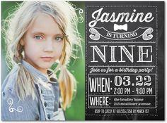 Chalked Fun: Girl - Birthday Party Invitations in Black | Ann Kelle
