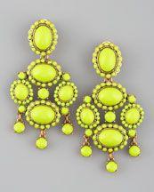 Oscar de la Renta Chartreuse  Resin earrings,,,,Neiman's