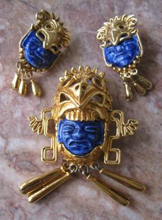 Vtg Salvador Teran-Marbel Aztec Mayan Blue Gold Ceramic Brooch&Earrings Mexico