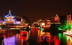 night view of the Qinhuai River on the Grand Canal tour.