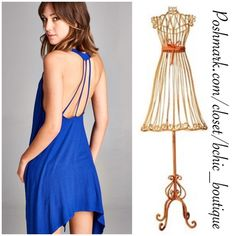 Royal Blue Open Back Dress Loose fit, sleeveless, scoop round neck  Shark bite hem Open back with strapping detail  Heavyweight knit jersey that is super soft, drapes and stretches very beautifully   Available is S,M, L B Chic Dresses