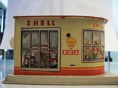 Old Tin German MS Shell Service Station Bank Made in Germany Toy - used to also sell or give away glasses with the logo on them