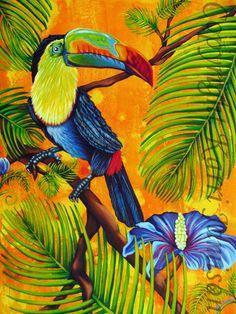 Karri Jamison Original Painting Title Tropical by KarriJamison Tropical Birds, Tropical Art, Tropical Paintings, Tropical Gardens, Tropical Flowers, Plant Painting, Fabric Painting, Jungle Crafts, Rainforest Plants