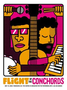 Flight of the Conchords Vancouver 2009 gig Poster by Doublenaut