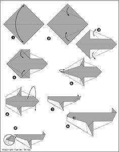 Детское оригами из бумаги, схема. Касатка