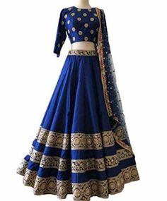 Taffeta Silk Lehenga Choli In Blue Colour - Tenues de Mariée Indian Lehenga, Sabyasachi Lehenga Bridal, Indian Bridal Sarees, Indian Bridal Wear, Silk Lehenga, Pakistani, Lehenga Wedding, Lengha Choli, Organza Saree