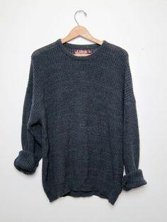 vintage black sweater. oversized sweater. by dirtybirdiesvintage