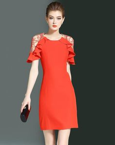 #AdoreWe #VIPme (VIPSHOP Global) Womens - LONYUASH Orange Ruffle Illusion Sleeve Sheath Mini Dress - AdoreWe.com