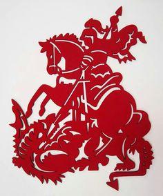 São Jorge Lino Art, Saint George And The Dragon, Silhouette, Armor Of God, Paper Stars, Concept Art, Stencils, Abstract Art, Saints