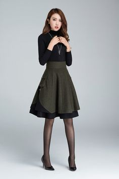 short skirt wool skirt winter skirt layered skirt plus