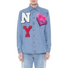 FORTE COUTURE DENIM SHIRT WITH PATCHWORK ($460) ❤ liked on Polyvore featuring tops, patchwork shirt, blue denim shirt, blue shirt, patchwork tops and blue top