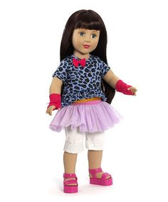 Little ones need a companion who's there for every tea party, playtime romp and adventure in dreamland. This darling doll is articulated at the neck, shoulders and hips, and has blue eyes that open and close, dark brown locks and a hip outfit to boot.