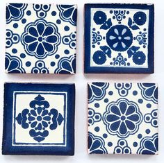 Mexican Talavera Tile Magnets, set of 4 on Etsy, $10.00