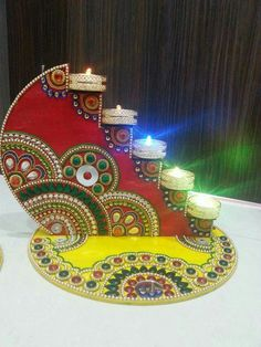 Arti Thali Decoration, Thali Decoration Ideas, Ganapati Decoration, Diwali Decorations At Home, Stage Decorations, Festival Decorations, Diwali Diy, Diwali Gifts, Diwali Craft For Children