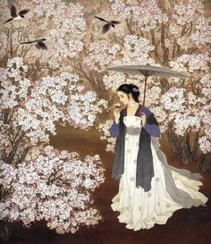 by Zhao Guojing and Wang Meifang (Chinese) Creative Pictures, Art Pictures, Art Chinois, Ancient Beauty, China Art, Japanese Prints, Chinese Culture, Chinese Painting, Beauty Art