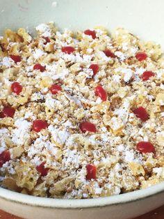 Crunch van Brusselse wafel met zure room en aardbeien