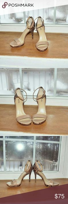 NWT Michael Kors Nude Snakeskin Heels Brand new and only worn to try on! Very comfortable and flattering! I love how they are chic in the front and sexy in the back with the snakeskin design. These are a total gem to add to your spring shoe collection! Will accept reasonable offers! Michael Kors Shoes Heels