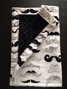 Where's My 'Stache Mustache Blanket with Black by SpikeAndLilly.....I want a quilt like this for my son...in a double
