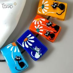 TRIZAS-ORIGINAL Handmade lampwork fused bead-Cats and daisies-TOS0320 SRA…