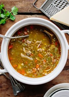 For me, especially when I'm focusing on my health or losing weight, there is nothing more comforting than having many containers of this nourishing, delicious, filling lentil soup with chicken stashed away in the freezer